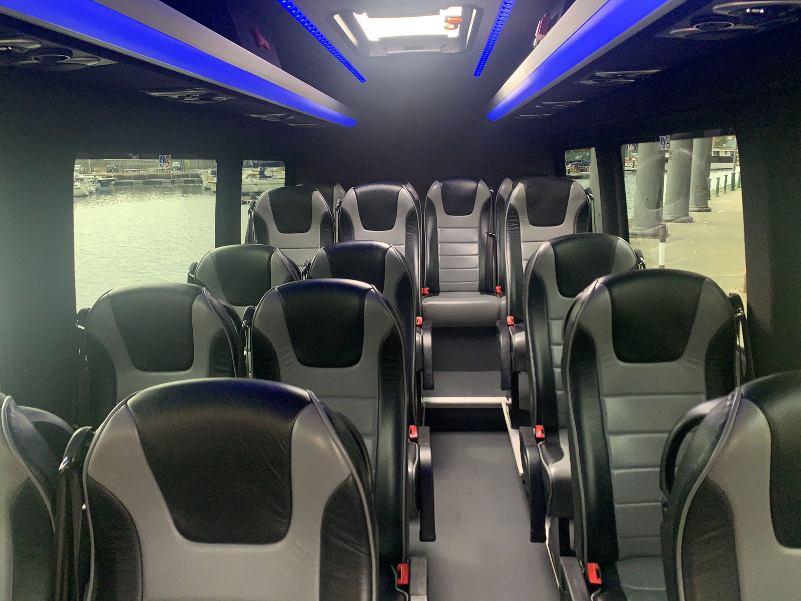 Smart interior of a Claydon executive coach
