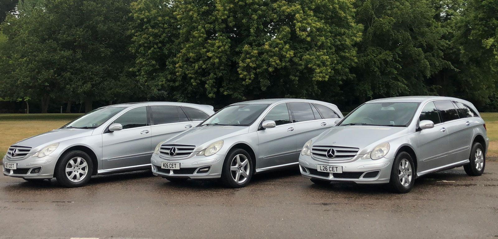 three Claydon Travel vehicles in a row